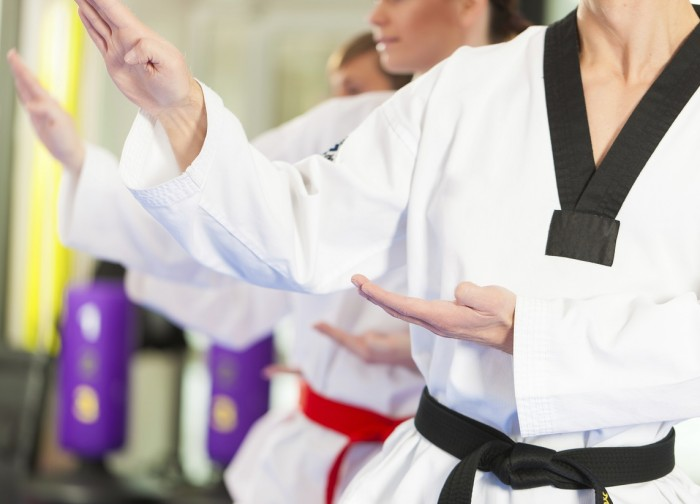 People in a Journey Martial Arts exercising in Kempo, the trainer has a black belt