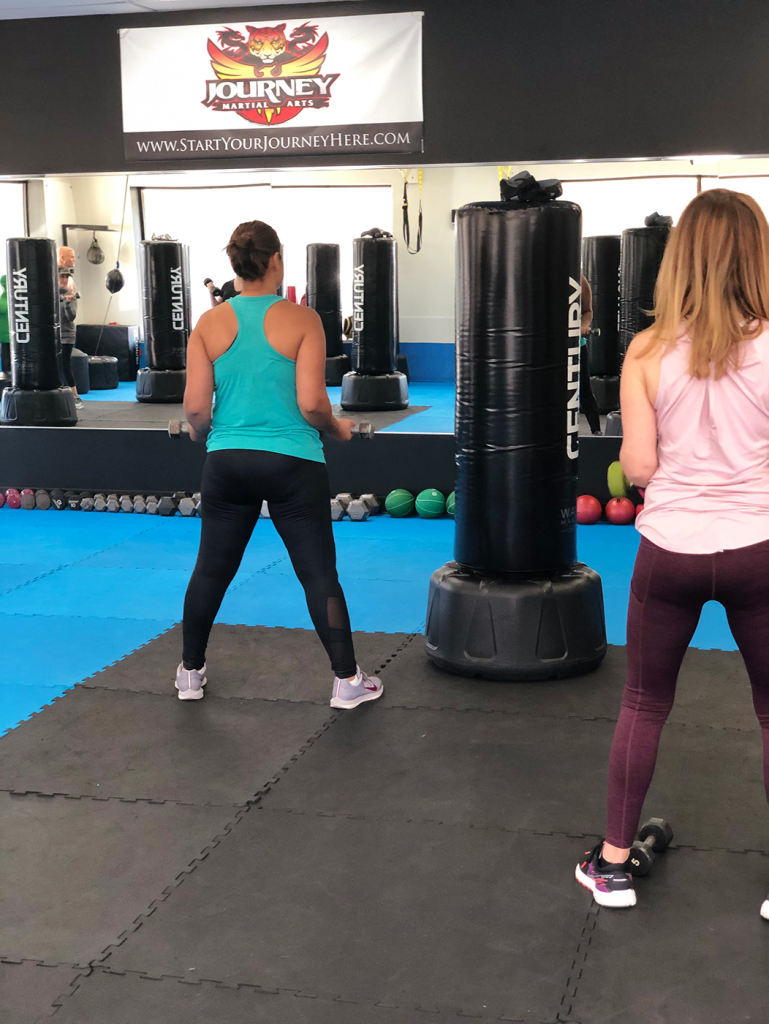 Fitness Kickboxing women using weights